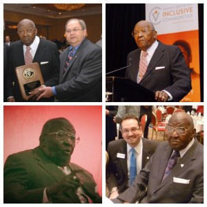 Clockwise from top left: Dr. James receiving the Jeffrey B. Spence Award for Interfaith Understanding with past VCIC President & CEO Jeff Spence; Dr. James speaking at the 2009 Richmond Humanitarian Awards Dinner; Dr. James and VCIC President & CEO Jonathan Zur at the 2013 Richmond Humanitarian Awards Dinner; Dr. James speaking at a VCIC program in 2013
