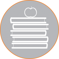 Icon - books apple grey